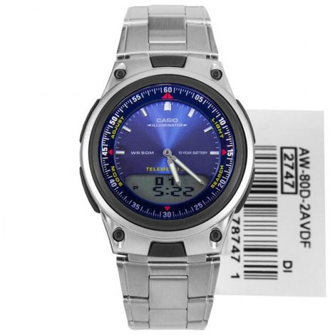 Casio Telememo Analog Digital Watch AW80D-2A AW-80D-2AV
