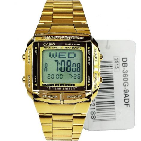 DB-360G-9A Casio Gold Plated Data Bank Mens Watch