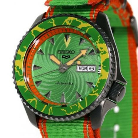 Seiko 5 Sports Blanka Street Fighter Green Watch SBSA083