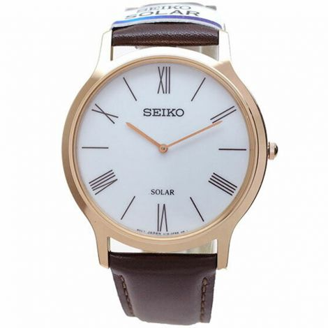 Seiko Solar SUP854P1 SUP854 SUP854P Male Leather Watch